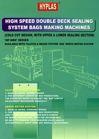 High Speed Double Deck Sealing System Bags Making Machines